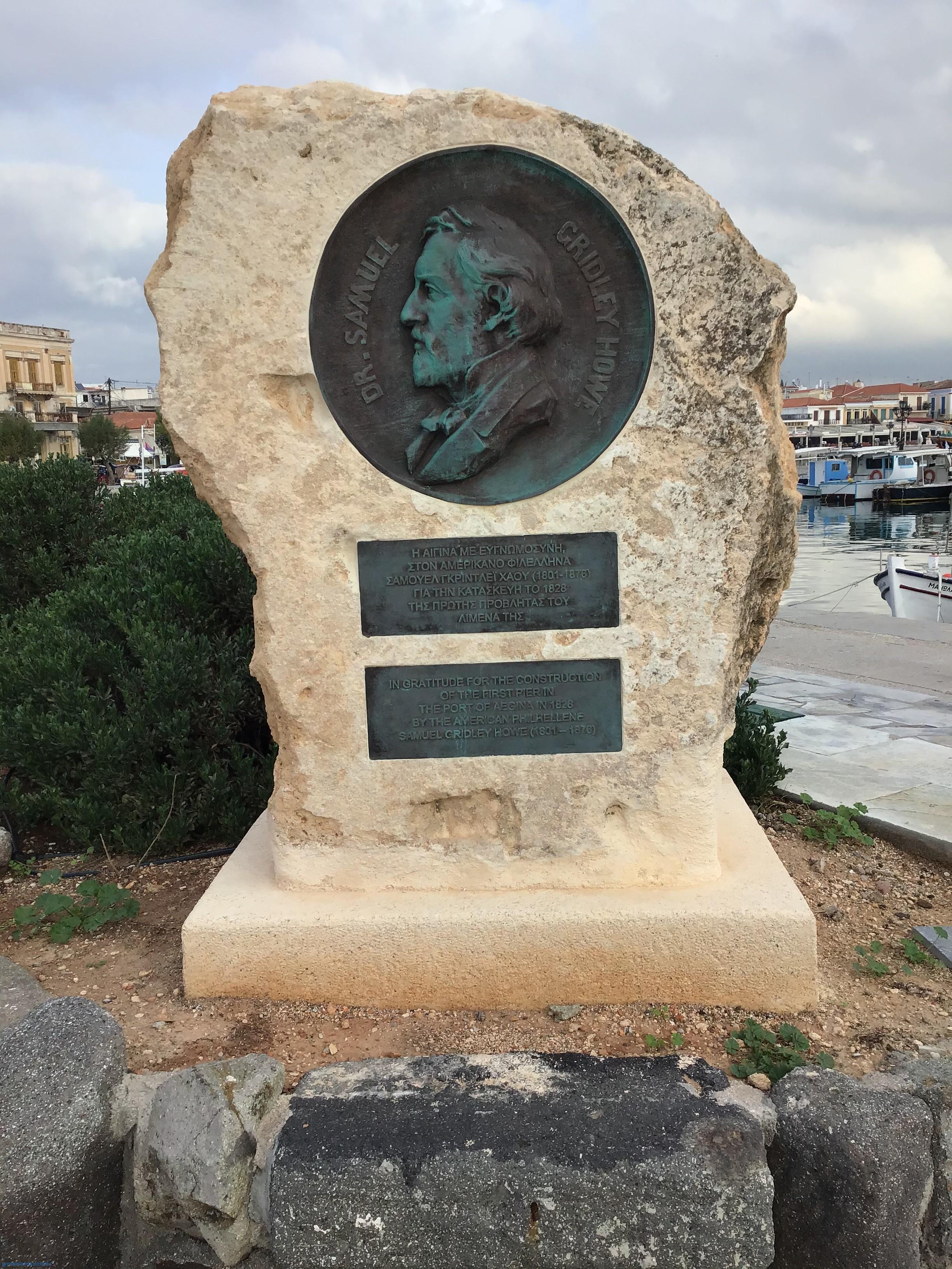 Monument of the American Philhellenic Samuel Gridley Howe in Aegina.